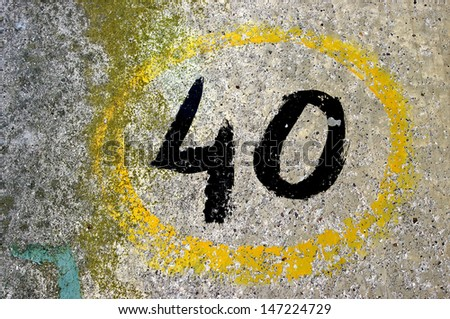 Grungy hand painted number 40. - stock photo