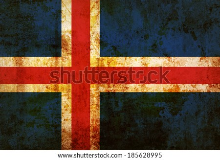 Grungy Iceland Flag on vintage paper - stock photo