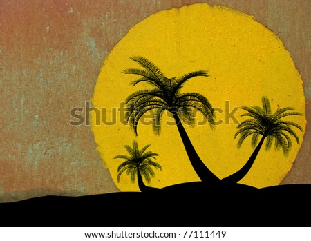 grungy illustration on the island palm tree concept