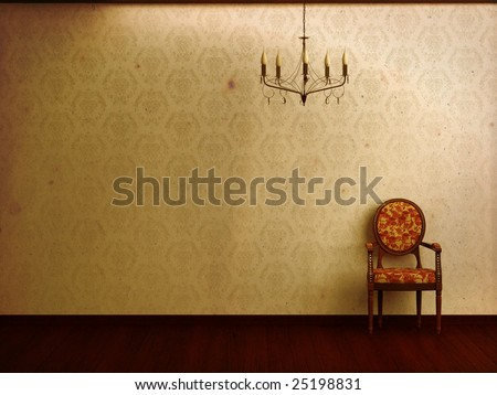 Grungy interior visualization featuring a chandelier and damask wallpaper in sepia. Ample copy space.