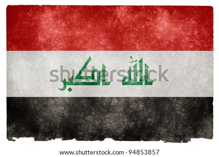 Grungy Iraq Flag on Vintage Paper - stock photo