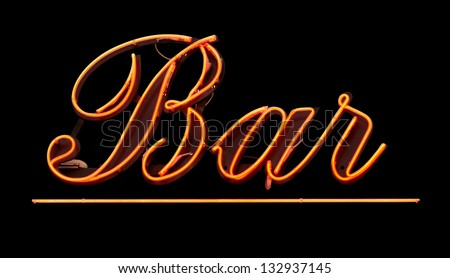 Grungy Isolated Neon Bar Sign Against Black Background - stock photo