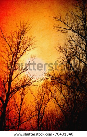 Grungy landscape: trees against the winter dusk. Worn paper effect