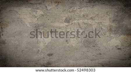 Grungy map background - stock photo