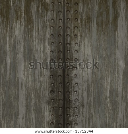 Grungy metal plate background with rivets.  This tiles seamlessly as a pattern. - stock photo