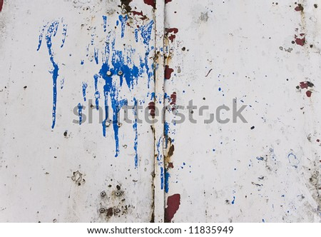 Grungy metal texture with paint splash on - stock photo