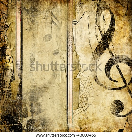 grungy musical background with place for text - stock photo
