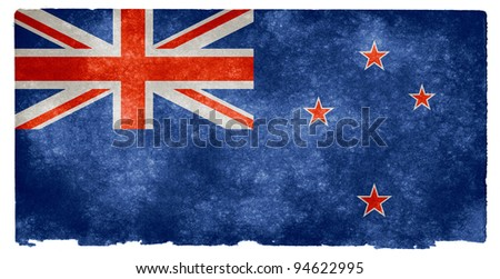 Grungy New Zealand Flag on Vintage Paper - stock photo