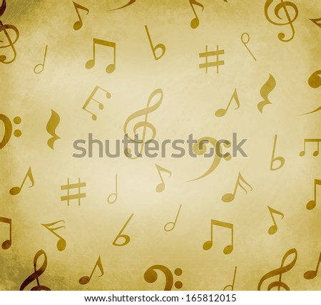 Grungy old background with black music notes - stock photo
