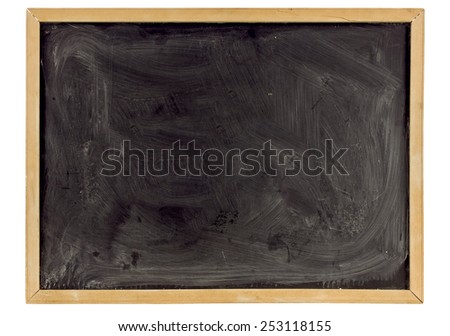 Grungy Old Blackboard In Wood Frame On White Background - stock photo