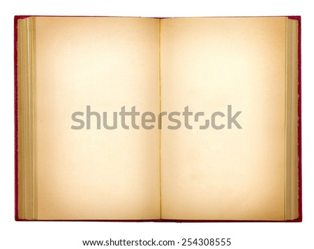 grungy old open book on white background isolation - stock photo