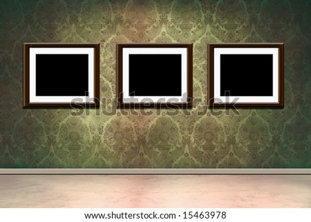 Grungy old room with victorian wallpaper and empty frames - stock photo