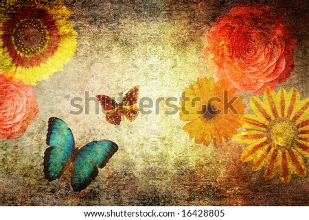 grungy old textured paper with flowers and butterflies - stock photo