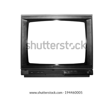 Grungy Old TV isolated on a white background - stock photo