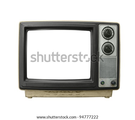 Grungy old TV set with blanked screen isolated on white. - stock photo