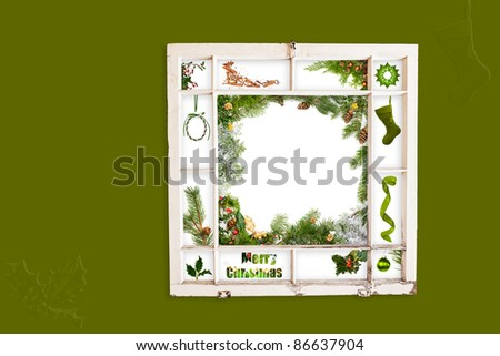 Grungy old window frame with collage of Christmas items. Clipping path for frame - stock photo