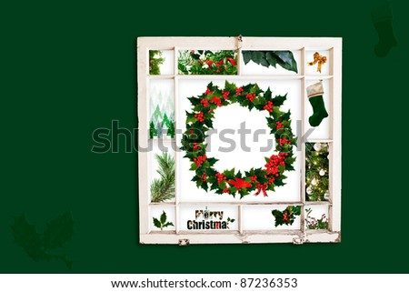 Grungy old window frame with collage of green Christmas items. Clipping path for frame - stock photo