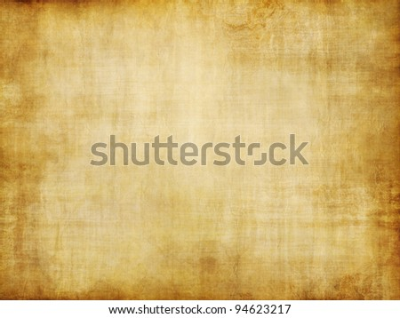 grungy old yellow brown vintage parchment paper texture - stock photo