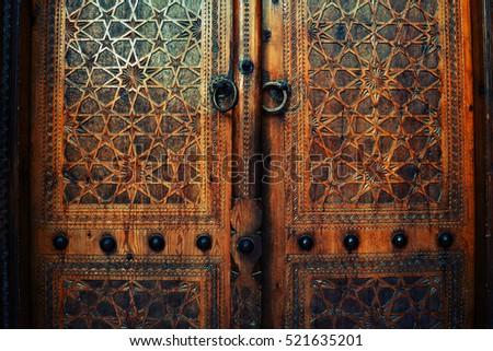 Grungy oriental texture on a wood. Door in one of Uzbekistans\u0027 mosque & Grungy Oriental Texture On Wood Door Stock Photo 521635201 ...