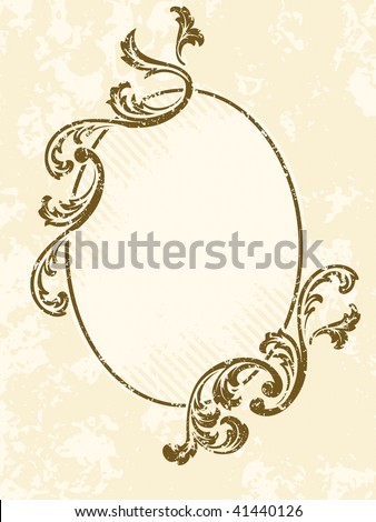 Grungy oval vintage sepia frame (JPG); a vector version is also available - stock photo