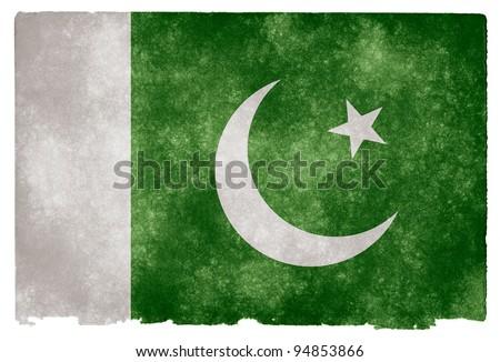 Grungy Pakistan Flag on Vintage Paper - stock photo