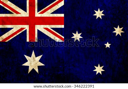 Grungy paper flag of Australia - stock photo