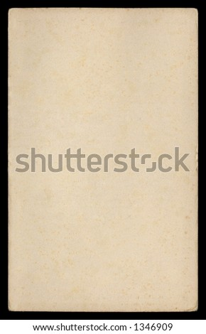 Grungy paper from early 1950's on black background - stock photo