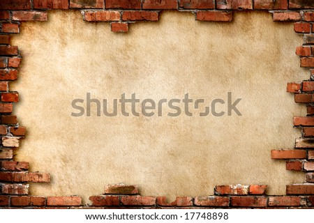 Grungy parchment paper background surrounded by red brick frame isolated with clipping path - stock photo