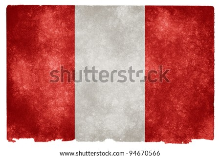Grungy Peruvian Flag on Vintage Paper - stock photo