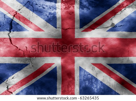Grungy photo of the Union Jack on a weathered wall. Perfect for use in promotional posters and the likes. - stock photo