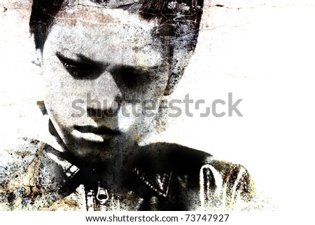 grungy portrait of a child - stock photo