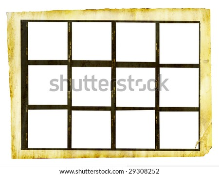 grungy printed contact sheet medium format with twelve picture frames, isolated on white background - stock photo