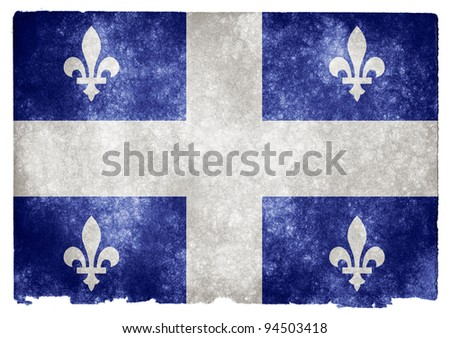 Grungy Quebec Flag on Vintage Paper - stock photo
