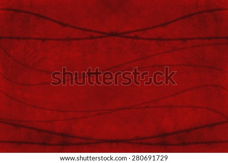 Grungy red background with wires crossing; concept of danger or threat - stock photo