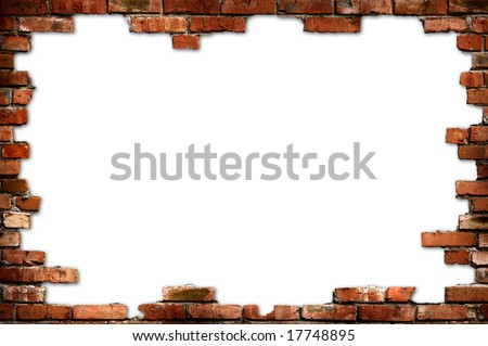 Grungy red brick frame isolated with clipping path on white background - stock photo