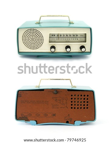 grungy retro radio back & front on  isolated white background