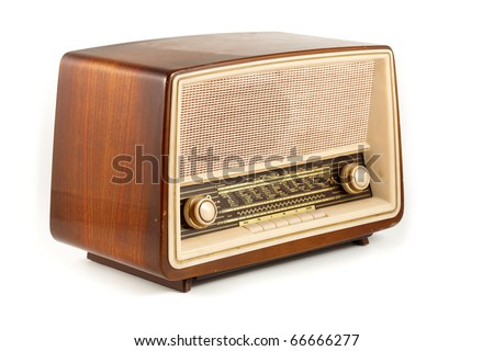 grungy retro radio isolated on white - stock photo