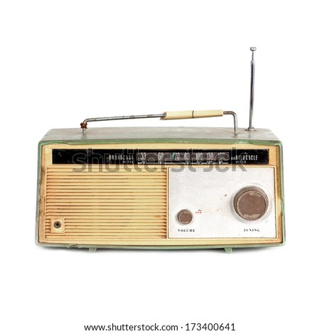 grungy retro radio on isolated white background - stock photo