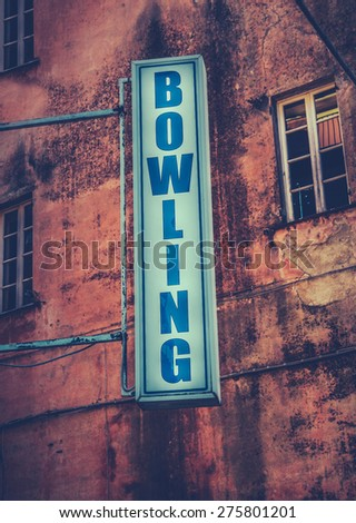 Grungy Retro Sign For A Bowling Alley - stock photo