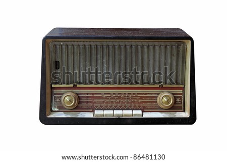 Grungy retro wooden radio on  isolated white background - stock photo
