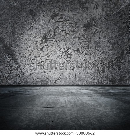 Grungy room with distressed walls and floor - stock photo
