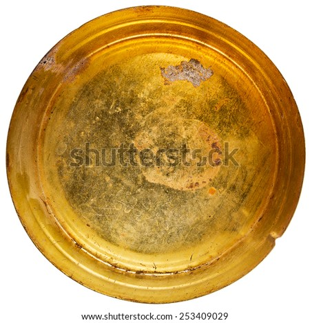 Grungy round metal tin can isolated on white - stock photo