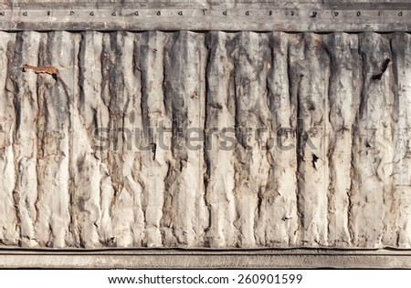 Grungy rusted metal wall texture, old industrial cargo container side - stock photo