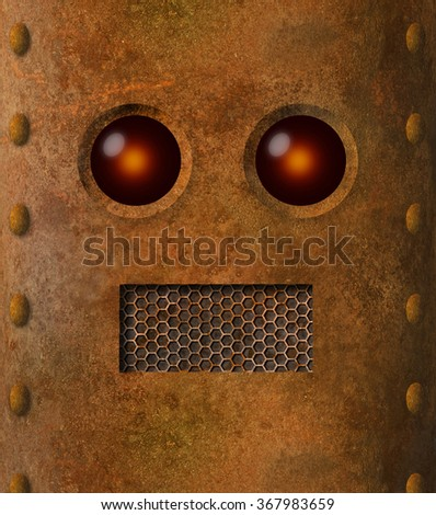 Grungy rusty robot face with grille mouth and lens-like eyes