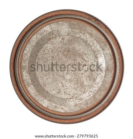 Grungy rusty round tin box with lid isolated on white background