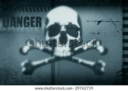 grungy skull sings, danger - stock photo