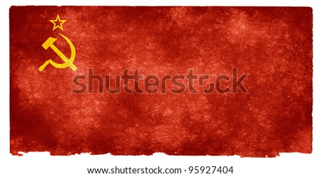 Grungy Soviet Flag on Vintage Paper - stock photo