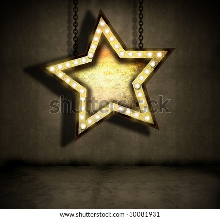 grungy star sign with marquee lights hanging by chains - stock photo