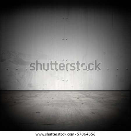 Grungy steel barrier and floor - stock photo