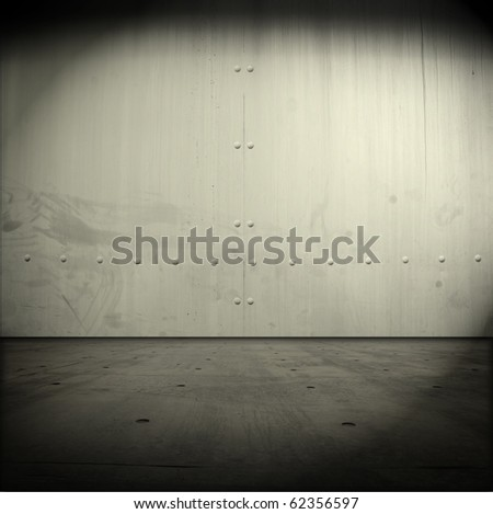 Grungy steel wall or door and ground - stock photo
